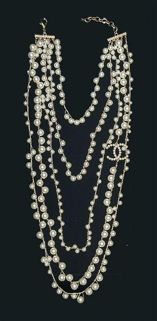 CHANEL Large 5 Strand Pearl and Gold Necklace