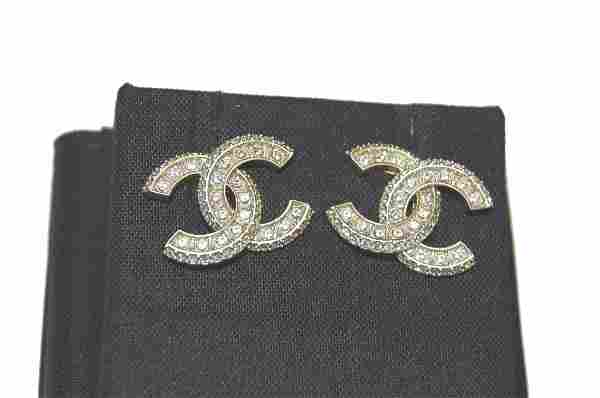 CHANEL CC Crystal and Gold Stud Earring