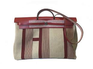 HERMES Limited Edition Toile XL Herbag Red and TAN