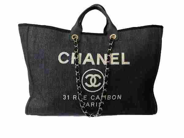 CHANEL Lurex Canvas Large Deauville Tote Navy Blue Silv