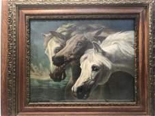 Pharoah's Horses, Colored Print in Antique Frame