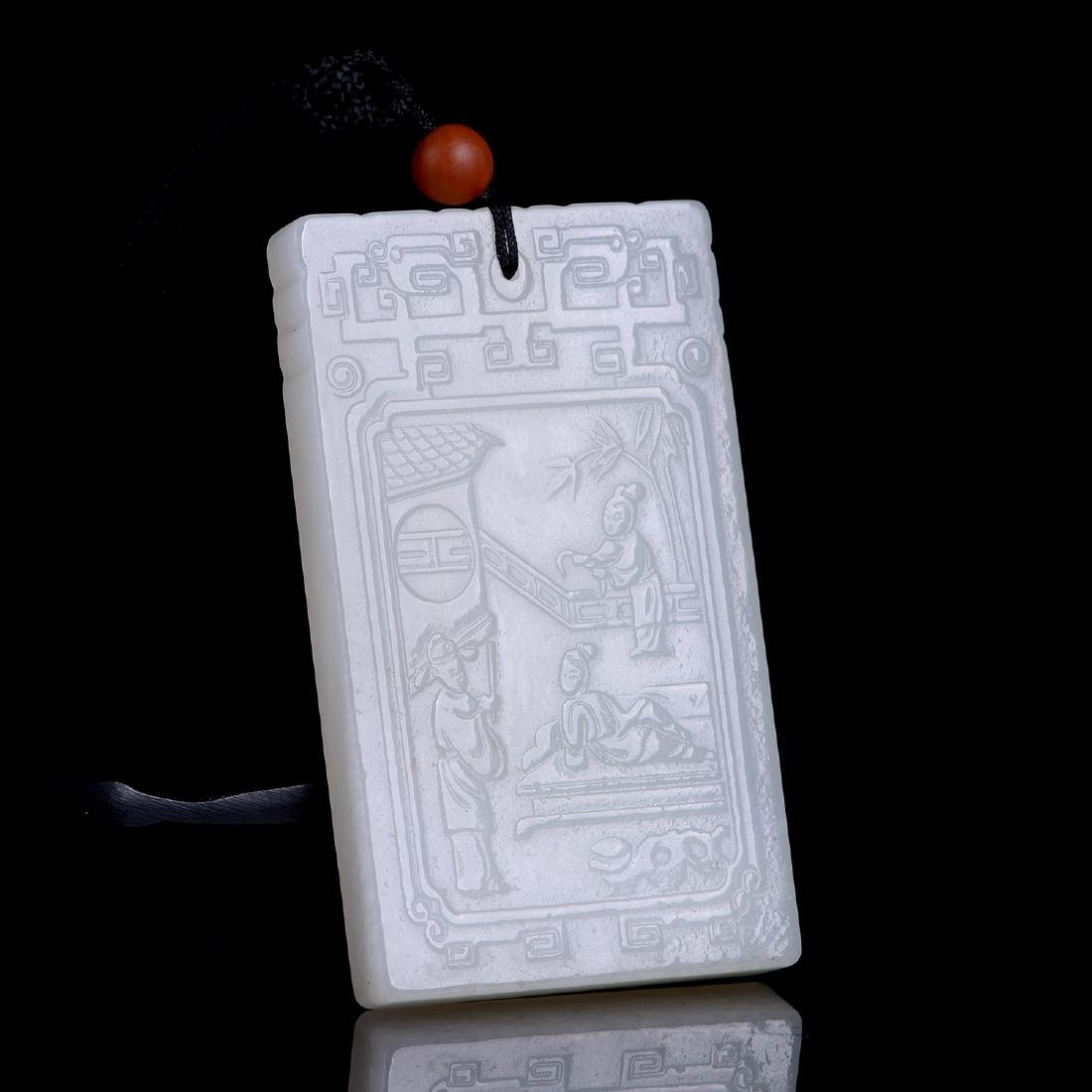 CHINESE STORY-TELLING HETIAN WHITE JADE PLAQUE - 4