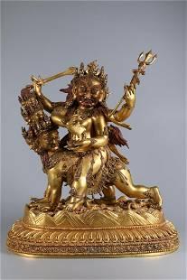 A GILT BRONZE KURUKULLE BUDDHA STATUE