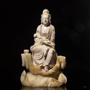 CHINESE SHOUSHAN STONE STATUE -GUANYIN