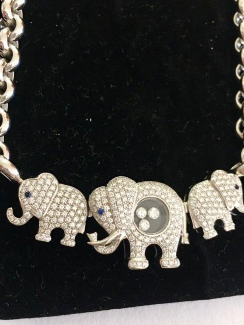 CHOPARD 18K White Gold Elephant Happy Diamonds Necklace - 3