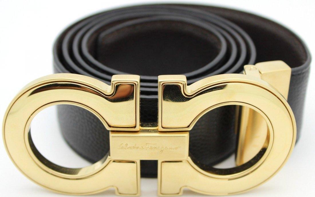 Mens Salvatore Ferragamo black hickory S40 leather Belt