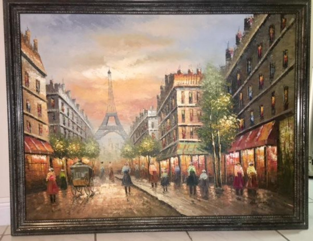 R.Young Large Oil on Canvas Painting Paris Scene Eiffel