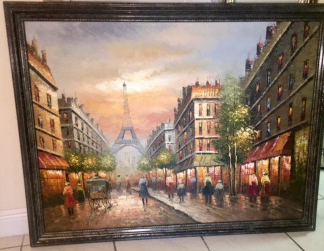 R.Young Large Oil on Canvas Painting Paris Scene Eiffel - 4