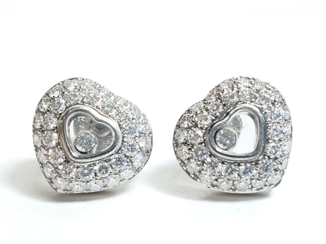 Chopard 18k White Gold Happy Diamond Heart Earrings