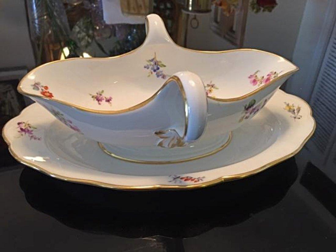 Antique MEISSEN Porcelain Large Gravy Boat Floral