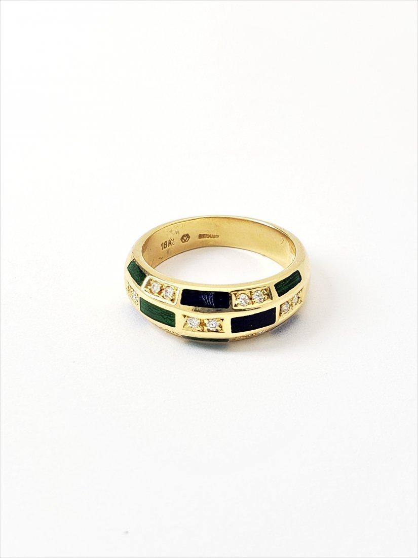 Womens Designer Faberge 18k Diamond Enamel Sz 7 Ring