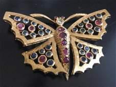 Antique 1930s Butterfly Brooch 14K Gold Diamond Rubys