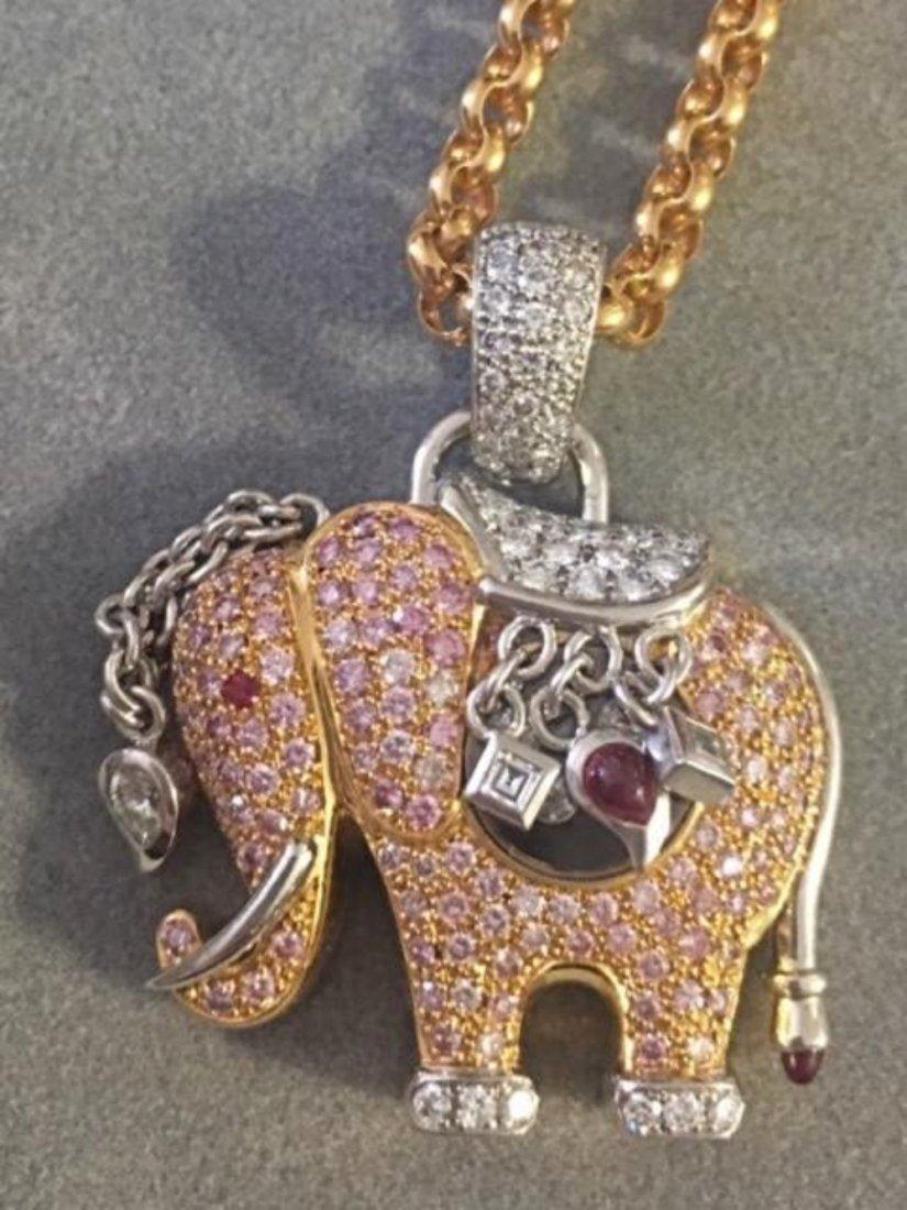 CHOPARD 18K Gold Elephant Pink Happy Diamond Pendant