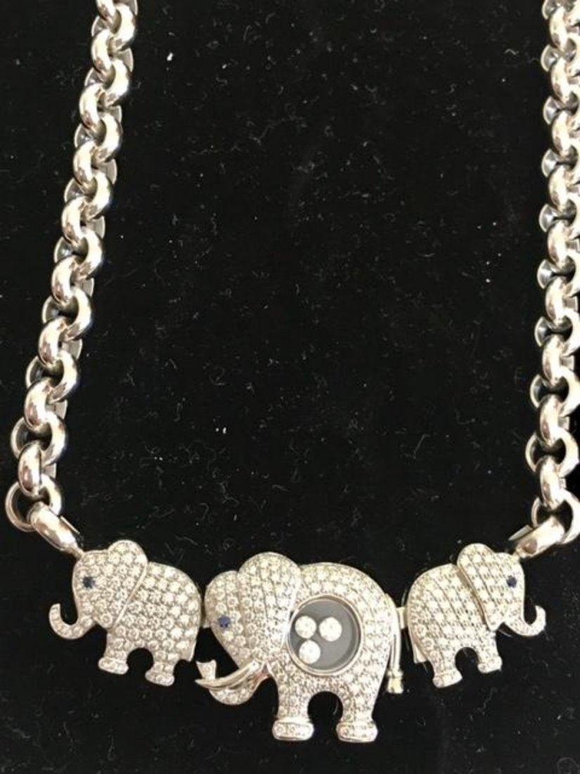CHOPARD 18K White Gold Elephant Happy Diamonds Necklace