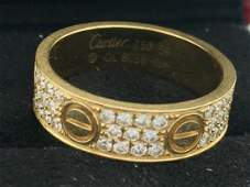 Cartier Diamond Love Ring 18K Yellow Gold Size 9