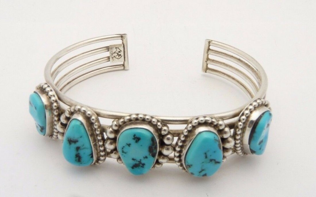 Navajo Cuff Bracelet Turquoise Sterling Silver