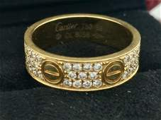 Cartier Diamond Love Ring 18K Yellow Gold Size 9