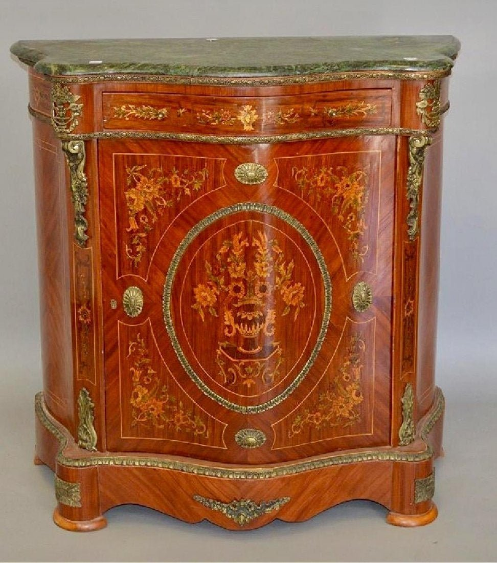 Louis XIV Style Serpentine Cabinet Inlaid Marble Top