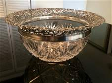 Lg Antique American Sterling Cut Crystal Whiting Bowl