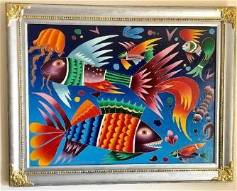 Yuri Gorbachev Russian b.1948 Exotic Fish Oil canvas Lg