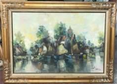 J Rolands Dutch b1913 Impressionist Oil Painting