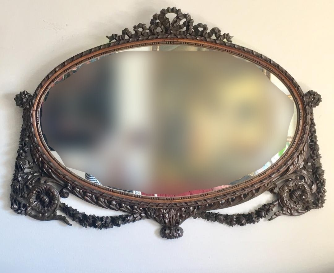 """Magnificent Antique Large 49"""" Hand Carved Wood Mirror"""