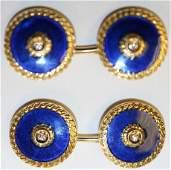 VINTAGE 18K Gold blue Enamel  Diamond Cufflinks