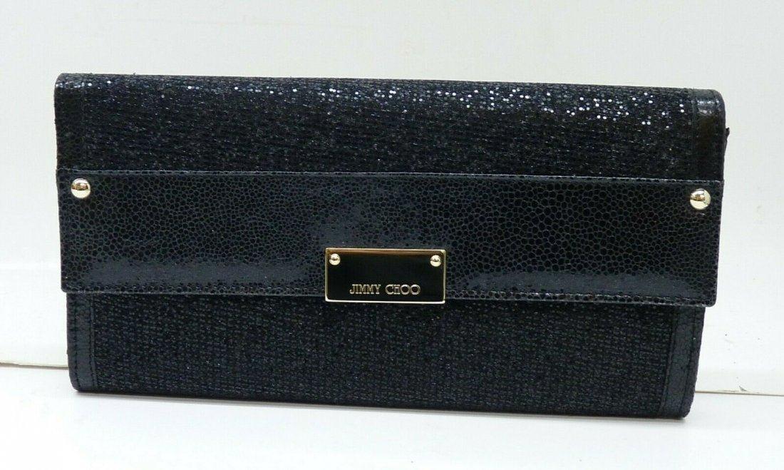 Jimmy Choo Reese Envelope Black Glitter Metallic Clutch