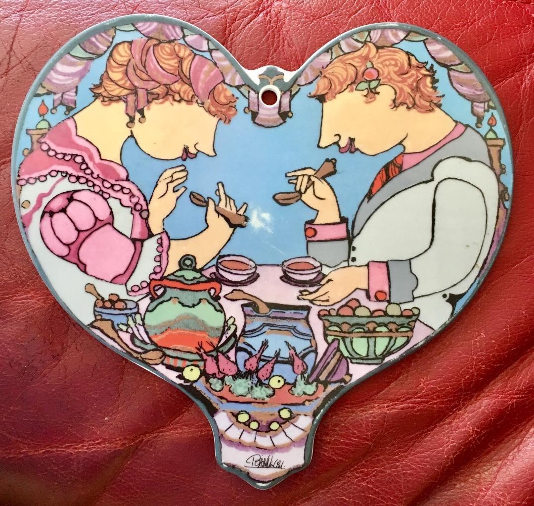 Rosenthal Bjorn Wiinblad Rare Porcelain Plaque Heart