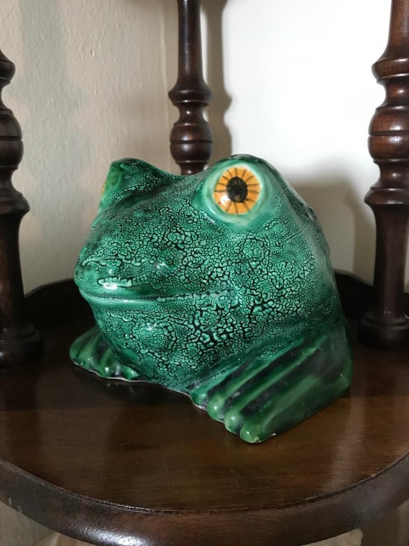 Vintage Holland Pottery Ceramic Frog Planter Vase
