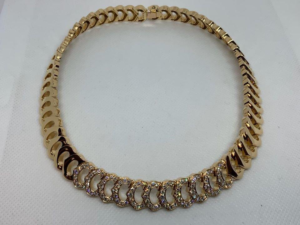 C De Cartier Diamond 18K Gold Heavy Link Necklace