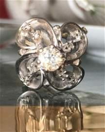 Platinum 1ct Diamond Adjustable Shank Ring Flower Shape