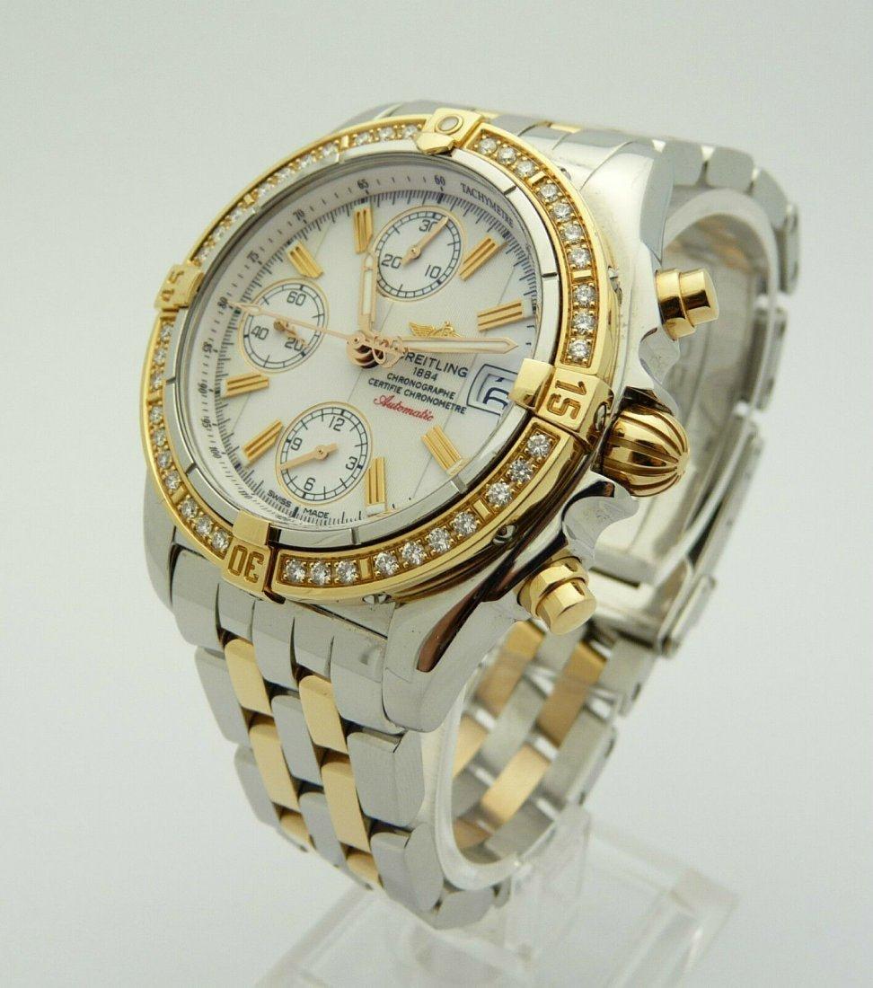 Breitling Galactic Chronograph 18K Gold Diamond Watch