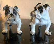 Rosenthal Germany 2 Large Porcelain Bulldogs Figurines