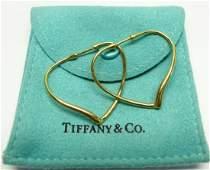 TIFFANY  CO ELSA PERETTI 18K GOLD OPEN HEART EARRINGS