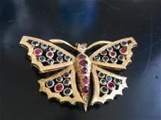 Antique Butterfly Brooch 14K Gold Diamond Rubys