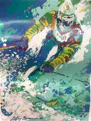 Leroy Neiman (American, 1921-2012) Olympic Skier 1980