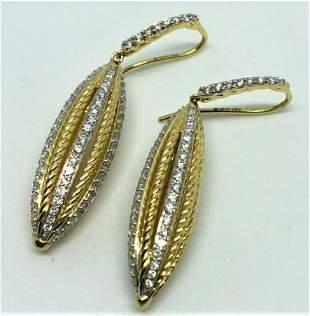 David Yurman Diamond 18K Gold Hook Drop Earrings