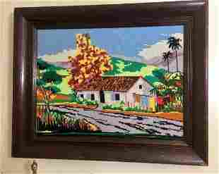 Vintage Framed Needlepoint Tapestry House By The Road