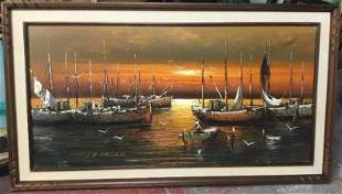 De Marco Large Oil Painting on Canvas Harbor Scene Ship
