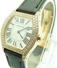 CARTIER Tortue 18k Rose Gold Diamond Ladies Watch