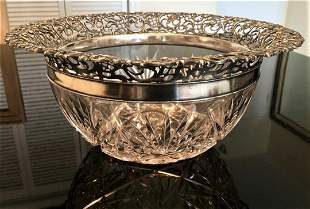 Lg Antique WHITING Sterling Silver Cut Crystal Bowl