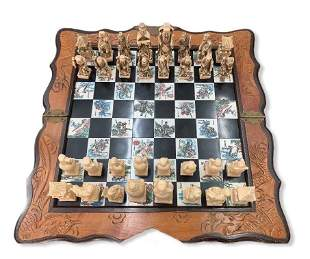 Vintage Asian Chinese Carved Chess Board Game