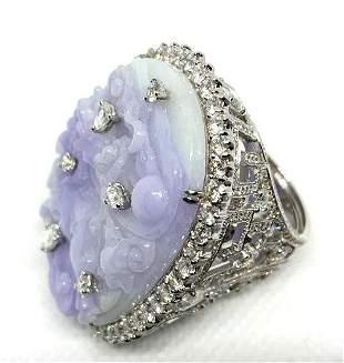 Lorraine Schwartz Jadeite Diamond White Gold Ring