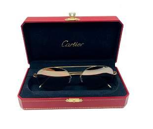 Cartier 18k Frame Mirror Lens Pilot Sunglasses CT0095S