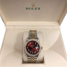 Rolex 16030 Datejust 18k Gold 36mm Red Dial Watch