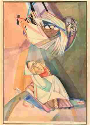 Victor Khromin Russian/American (1948-2015) Watercolor