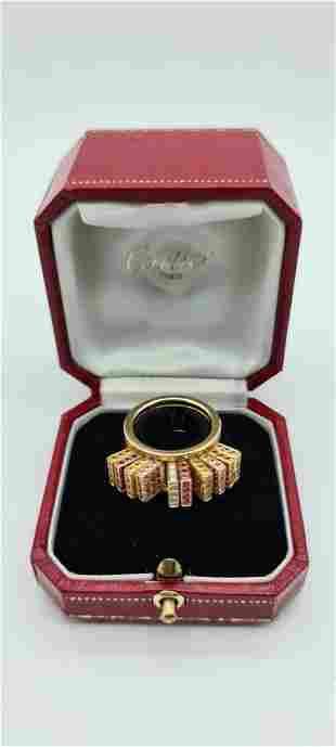 Cartier Paris Sapphire Diamond Gold Ring