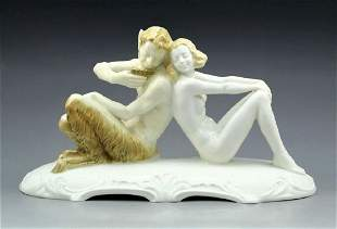 Antique Hutschenreuther porcelain FAUN & Nude Nymph LG