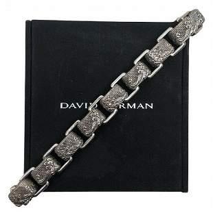 Mens DAVID YURMAN Sterling Silver  Waves Link Bracelet